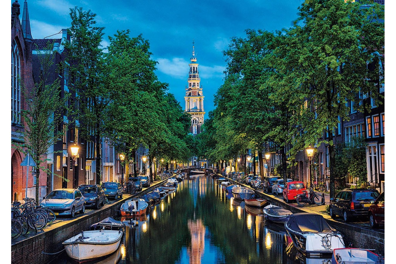 Puzzle Educa - Amsterdam Canal at Dusk, The Netherlands, 1500 piese, include lipici puzzle (16767) imagine
