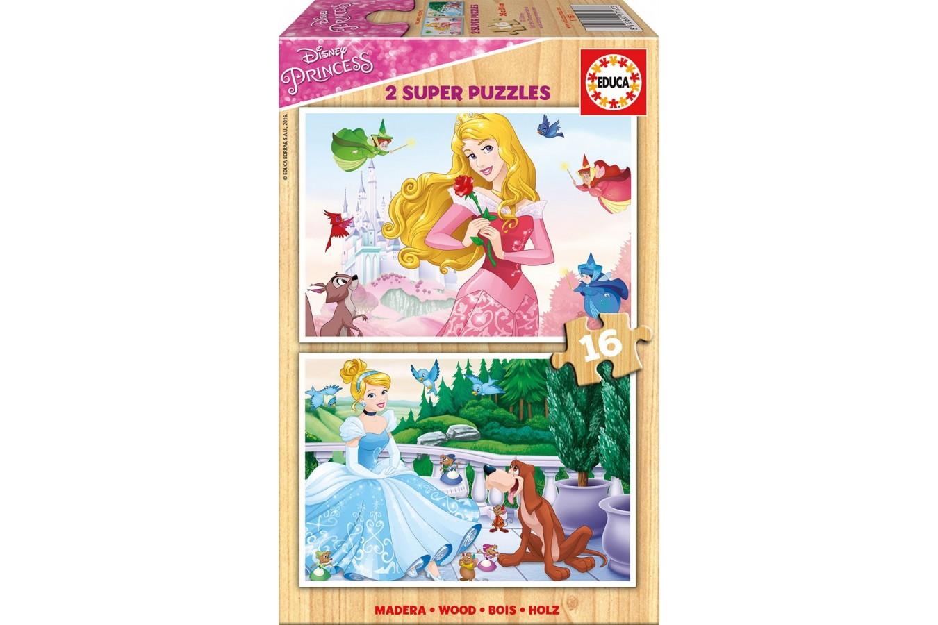 Puzzle din lemn Educa - Disney Princess, 2x16 piese (17163) imagine