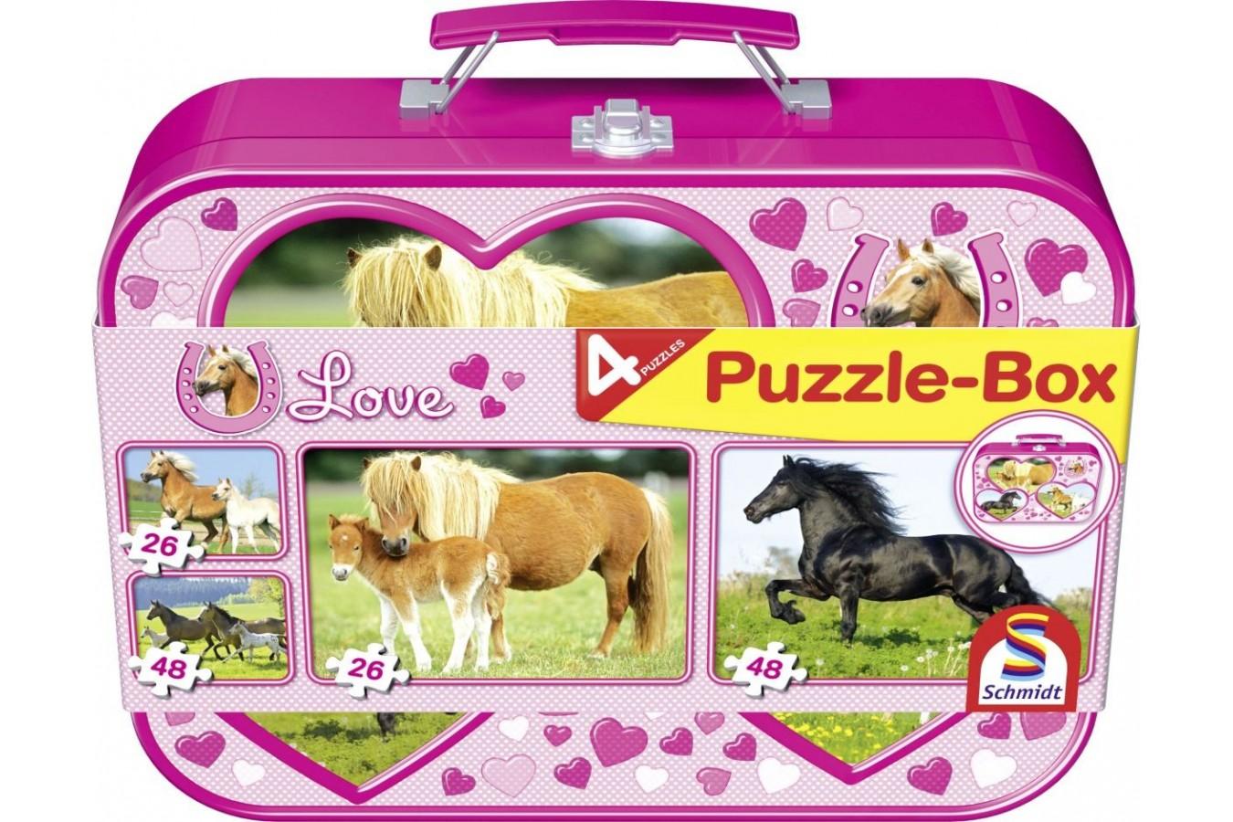 Puzzle Schmidt - Cai, 2x26 + 2x48 piese, cutie metalica (55588) - 1