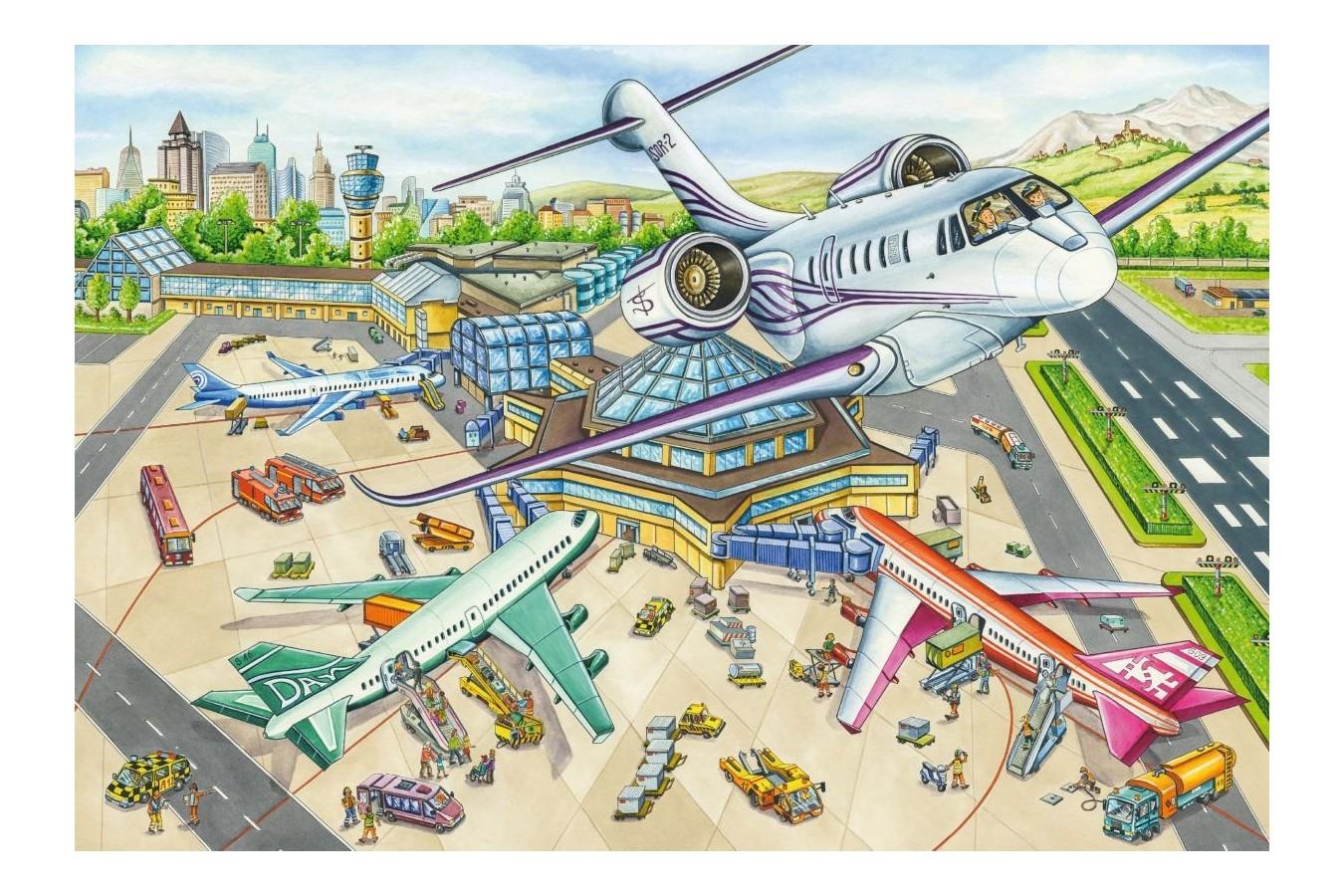Puzzle Schmidt - O zi la aeroport, 100 piese (56206) imagine