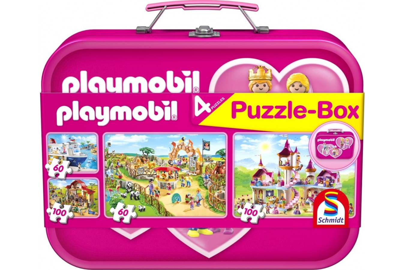 Puzzle Schmidt - Playmobil Pink, 2x60 + 2x100 piese, cutie metalica (56498) imagine