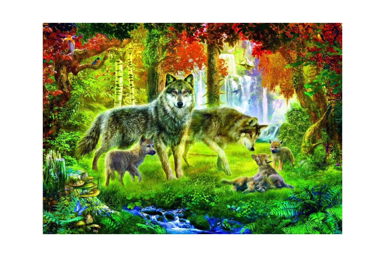 Puzzle Bluebird - Summer Wolf Family, 1.000 piese (70156) imagine