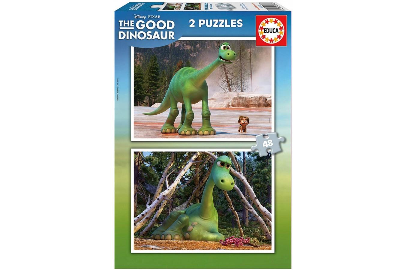 Puzzle Educa - Disney Pixar - The Good Dinosaur, 2x48 piese (15930) imagine