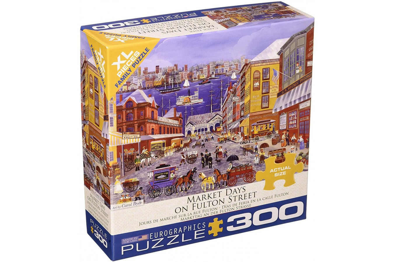 Puzzle Eurographics - Carol Dyer: Market Days on Fulton Street, 300 piese XXL (8300-5384) imagine