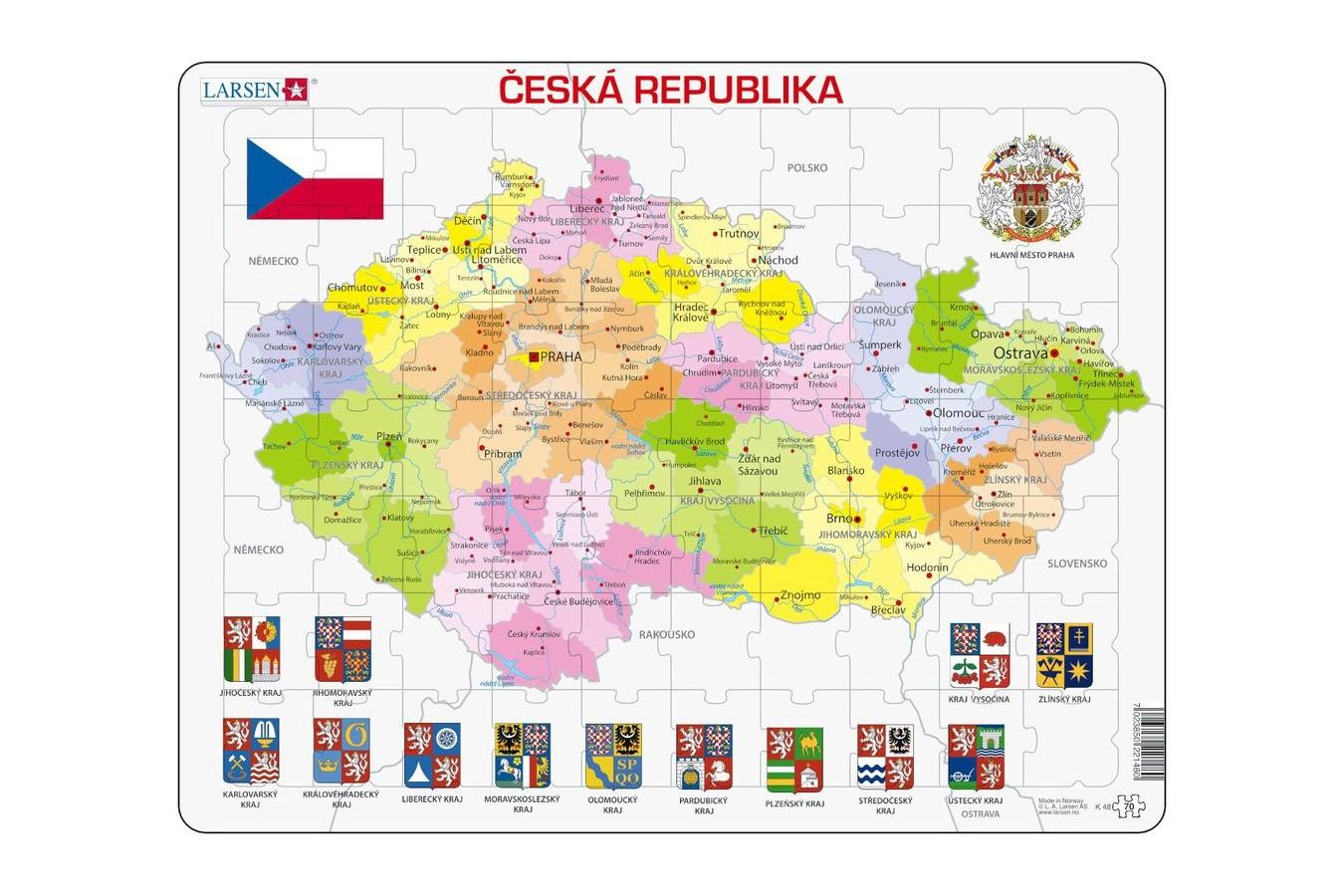 Puzzle Larsen - Political Map of Czech Republic, 56 piese (K48-CZ) imagine