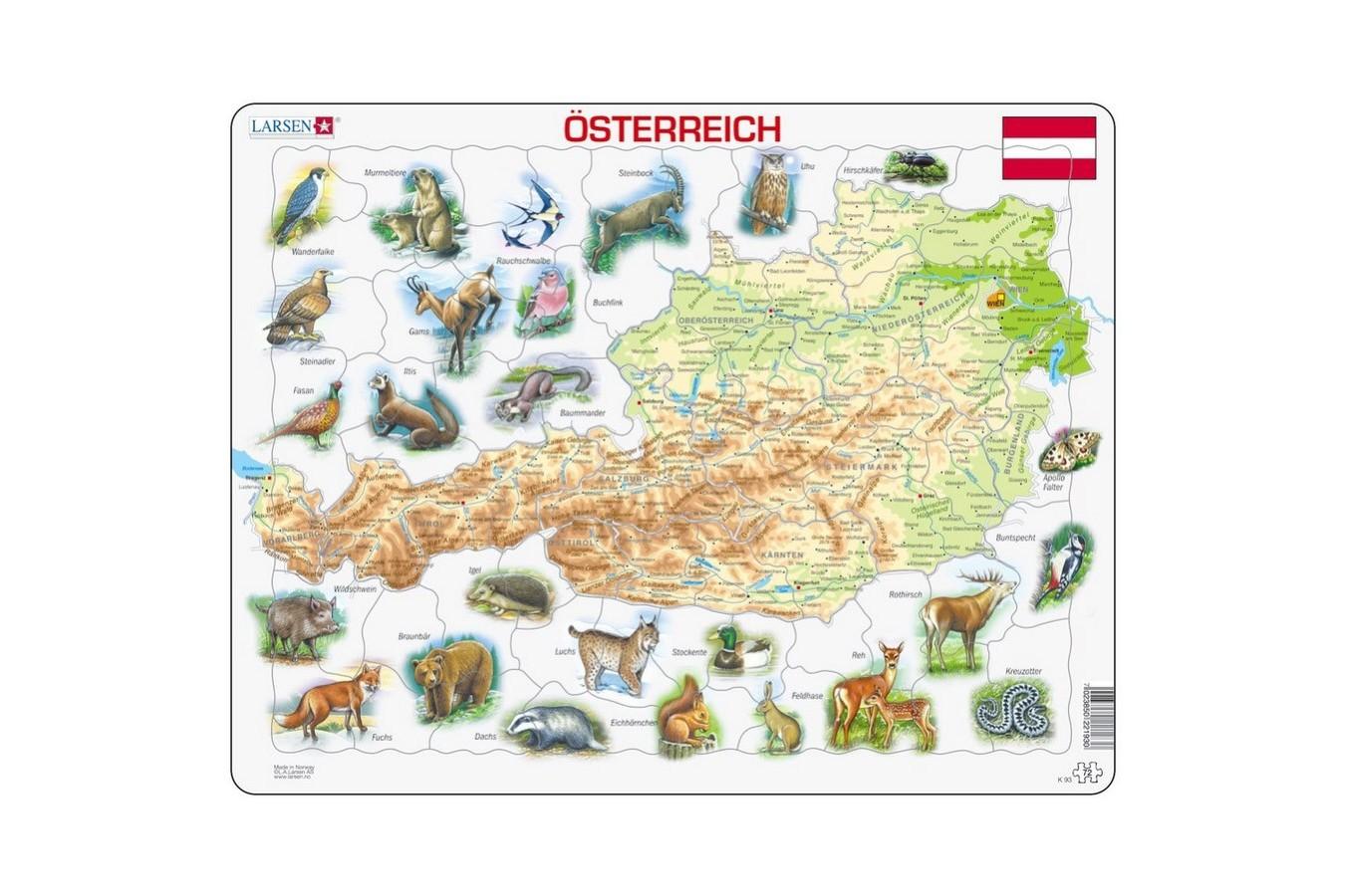 Puzzle Larsen - Map Of Austria (Deutsch), 72 piese (K93-DE) imagine