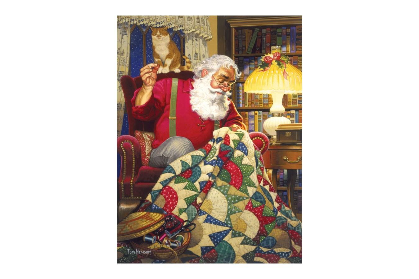 Puzzle Sunsout - Tom Newsom: Quilting Santa, 1.000 piese (23328) imagine