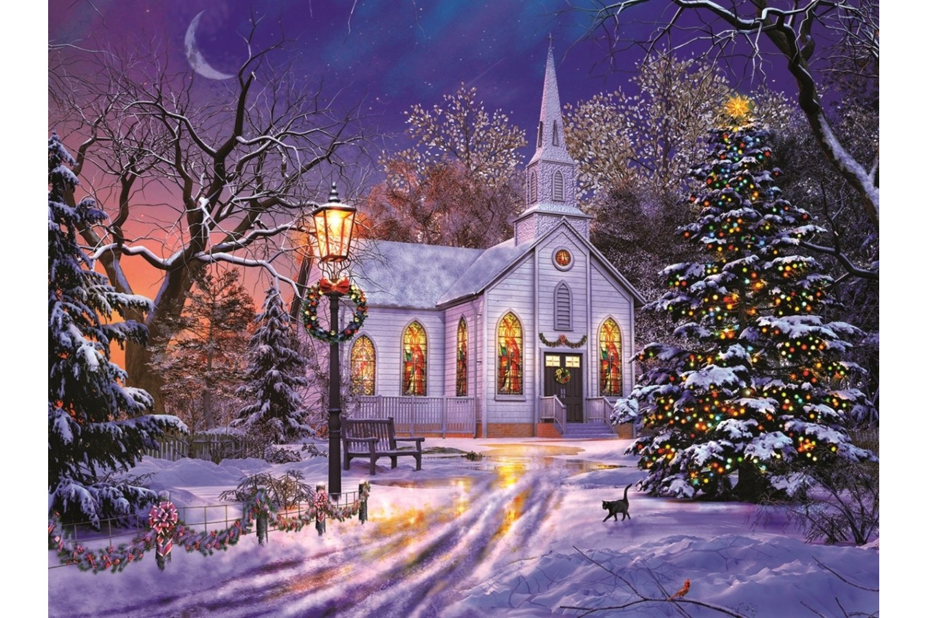 Puzzle Sunsout - Dominic Davison: The Old Christmas Church, 1.000 piese (50041) imagine