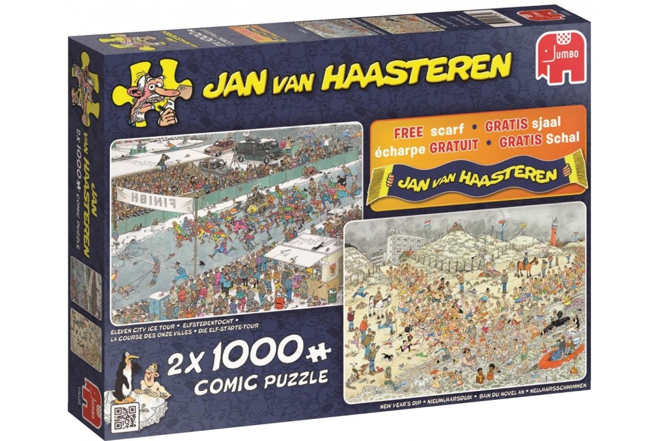 Puzzle Jumbo - Jan Van Haasteren: Jan van Haasteren, 2x1.000 piese (19035) imagine