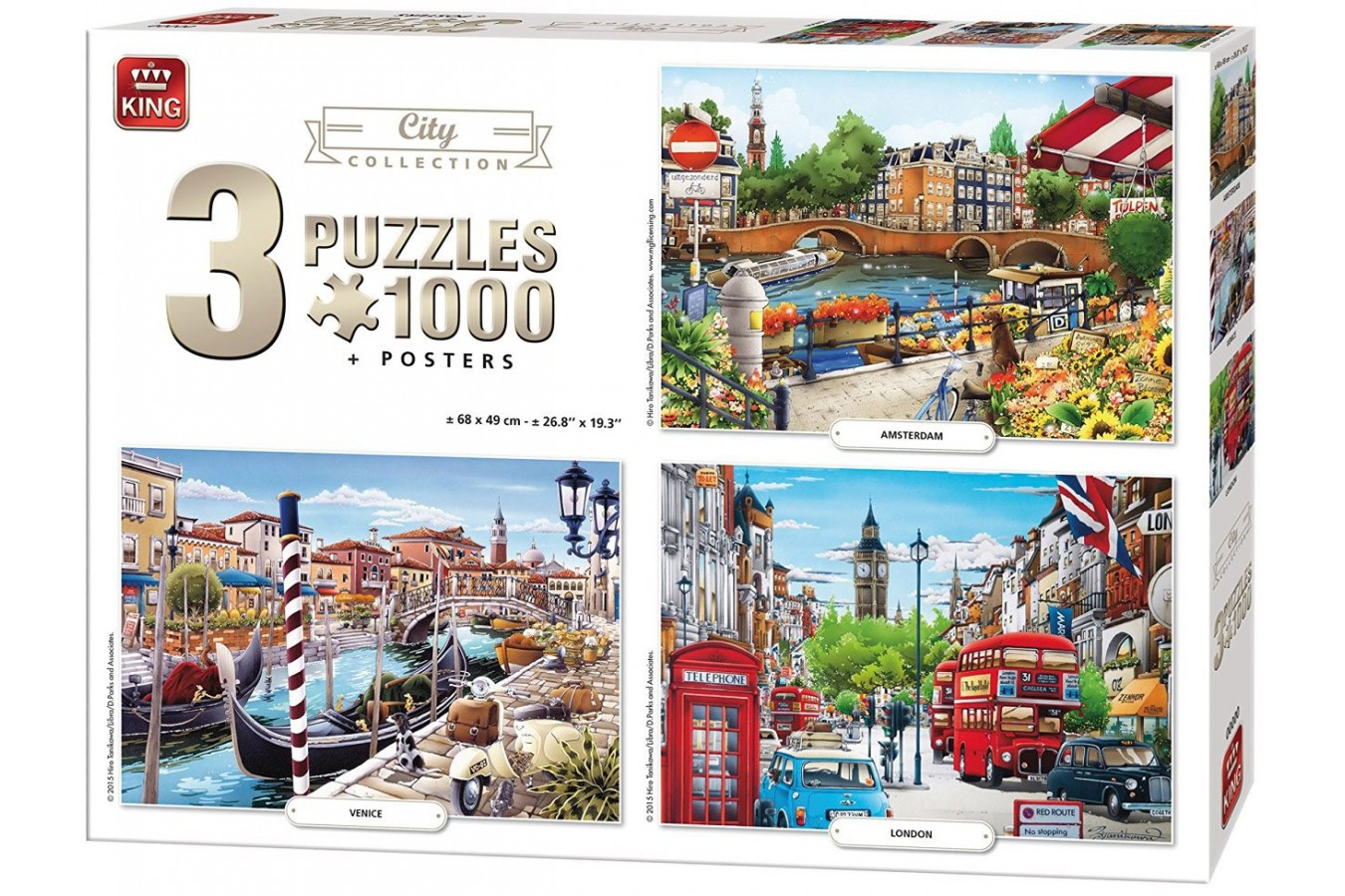 Puzzle King - City Collection, 3x1.000 piese (05205) imagine