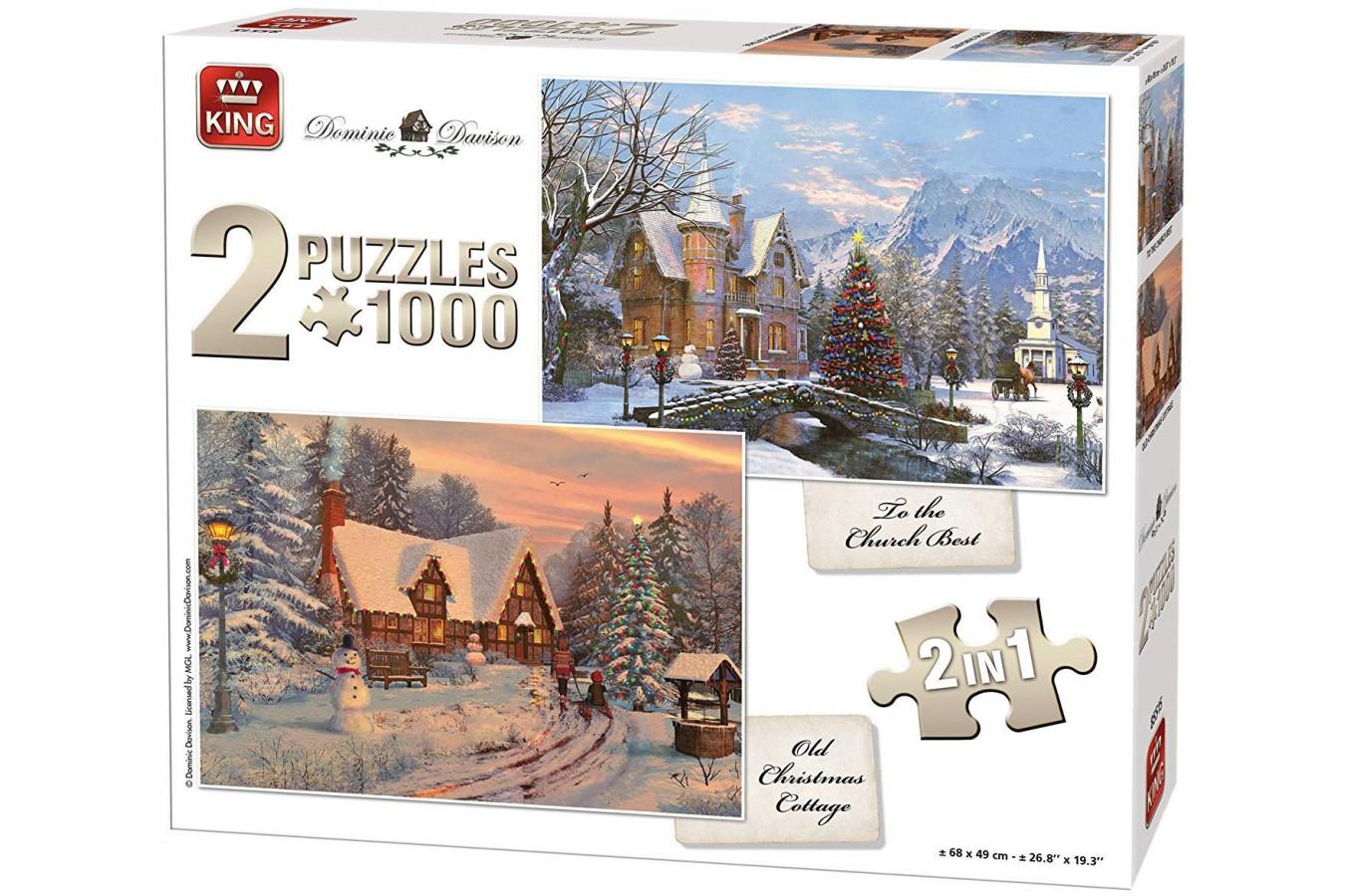 Puzzle King - Dominic Davison: Christmas Cottage, 2x1.000 piese (85515) imagine