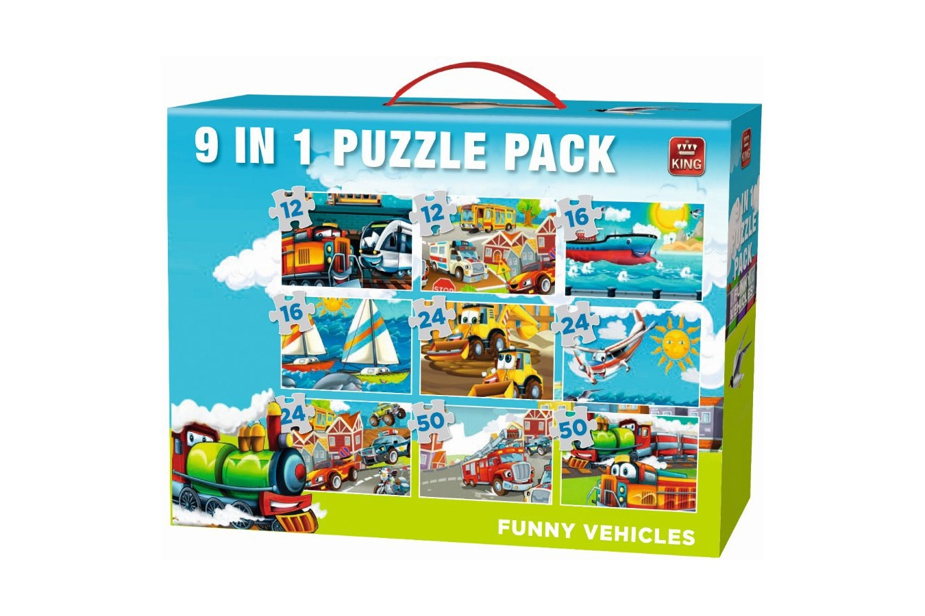 Puzzle King - Funny Vehicles, 12/16/24/50 piese (05520) imagine