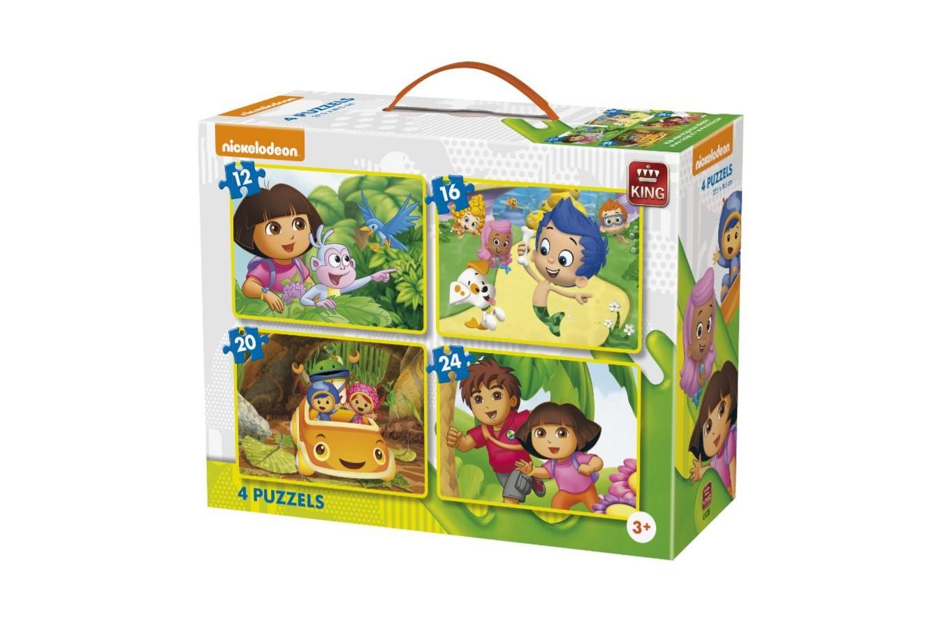 Puzzle King - Nickelodeon & Dora, 12/16/20/24 piese (05238) imagine