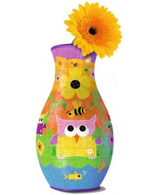 Puzzle 3D Ravensburger - Flower Vase - Owls, 216 piese (12050)