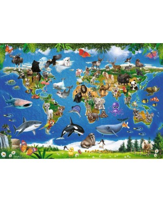 Puzzle de podea Ravensburger - Animals around the World, 24 piese XXL (05555)