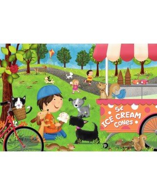 Puzzle de podea Ravensburger - Dogs Love Ice Cream, 24 piese XXL (05448)