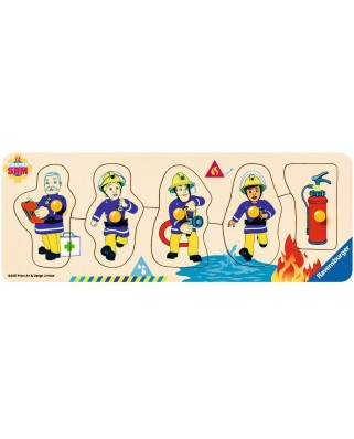 Puzzle din lemn Ravensburger - Wooden Fireman Sam, 5 piese (03237)