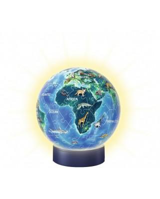 Puzzle glob Ravensburger - World, 72 piese, cu LED (11844)