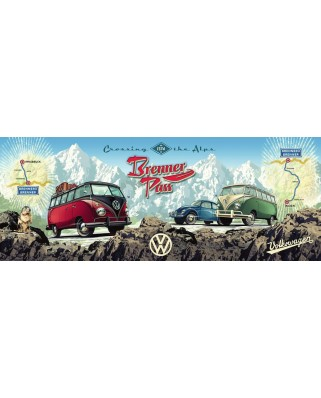 Puzzle panoramic Ravensburger - With the VW Bulli over the Brenner, 1.000 piese (15102)