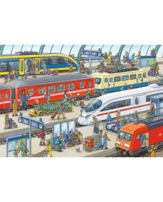 Puzzle Ravensburger - Agitation at the station, 2x24 piese (09191)