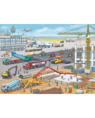 Puzzle Ravensburger - Construction Site at the Airport, 100 piese XXL (10624)