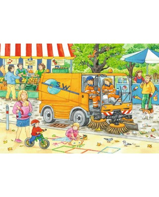 Puzzle Ravensburger - Garbage Disposal & Sweeper, 2x12 piese (07617)