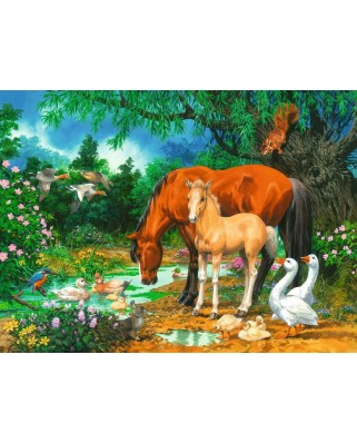 Puzzle Ravensburger - Idyll at the Pond, 100 piese (10833)