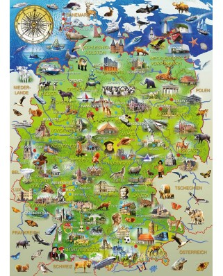 Puzzle Ravensburger - Map of Germany, 150 piese XXL (10049)