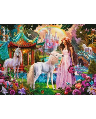 Puzzle Ravensburger - Princess with Unicorn, 100 piese XXL, strălucitor (13617)