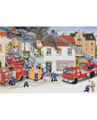 Puzzle Ravensburger - Road Accident and fire in city, 2x24 piese (08851)