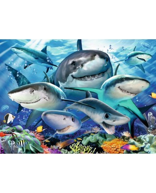 Puzzle Ravensburger - Smiling Sharks, 300 piese XXL (13225)