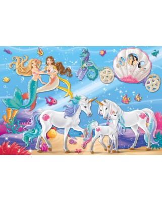 Puzzle Schmidt - The Magic Of The Mermaids, 60 piese, include 1 figurina Schleich (56302)