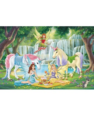 Puzzle Schmidt - Picnic Of The Elves, 200 piese, include 1 figurina Schleich (56304)
