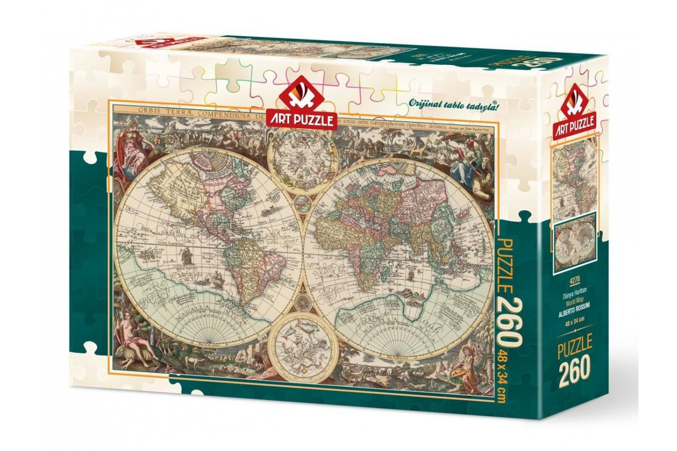 Puzzle Art Puzzle - Antique World Map, 260 piese (Art-Puzzle-4276)