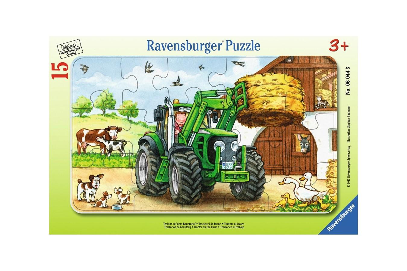 Puzzle Ravensburger - Tractor La Ferma, 15 piese (06044)