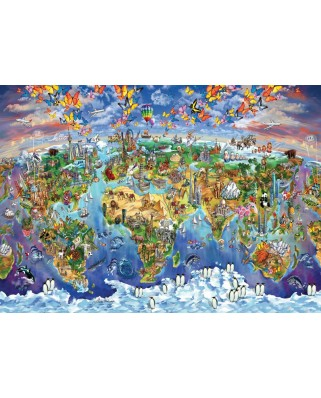 Puzzle Art Puzzle - World Wonders Illustrated Map, 2.000 piese (Art-Puzzle-4717)
