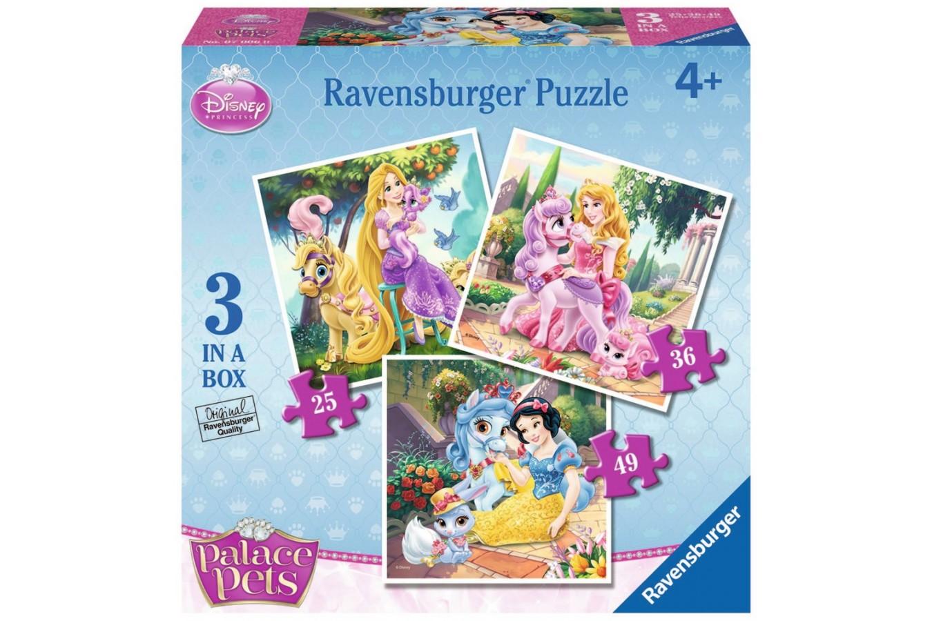Puzzle Ravensburger - Palace Pets, 25/36/49 piese (07006)