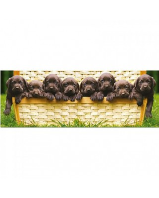 Puzzle panoramic Educa - Puppies in a Trunk, 1.000 piese (14530)