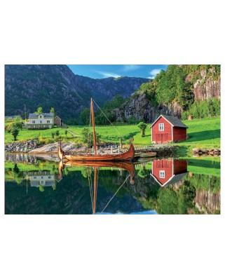 Puzzle Educa - Viking Boat, 1500 piese, include lipici (18006)