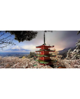 Puzzle panoramic Educa - Mount Fuji and Pagoda Chureito, Japan, 3.000 piese, include lipici (18013)