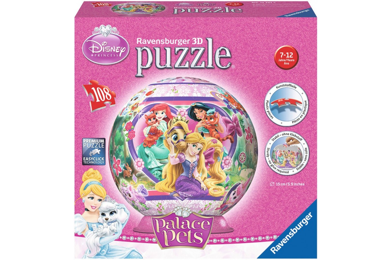 Puzzle glob Ravensburger - Palace Pets, 108 piese (12261)