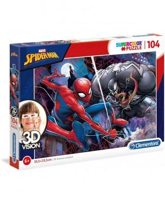 Puzzle Clementoni - Spider-Man, 104 piese, 3D Vision (20148)