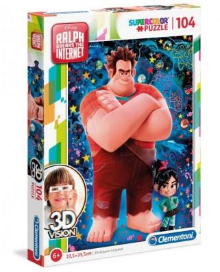Puzzle Clementoni - Disney Ralph, 104 piese, 3D Vision (20610)