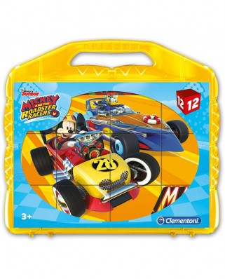 Puzzle cuburi Clementoni - Mickey and the Roadster Racers, 12 piese (41183)