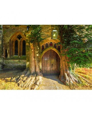 Puzzle Grafika - St Edward's Parish Church North Door Flanked By Yew Trees, 1.000 piese (02939)