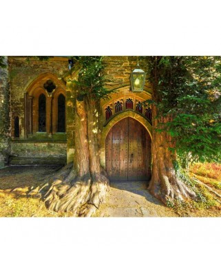 Puzzle Grafika - St Edward's Parish Church North Door Flanked By Yew Trees, 300 piese (02940)