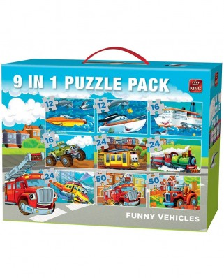 Puzzle King - Funny Vehicles, 12/16/24/50 piese (05521)