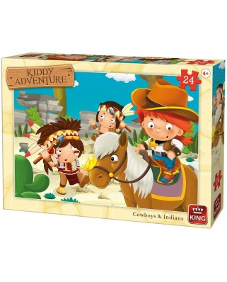 Puzzle King - Cow-Boys & Indians, 24 piese (05789)