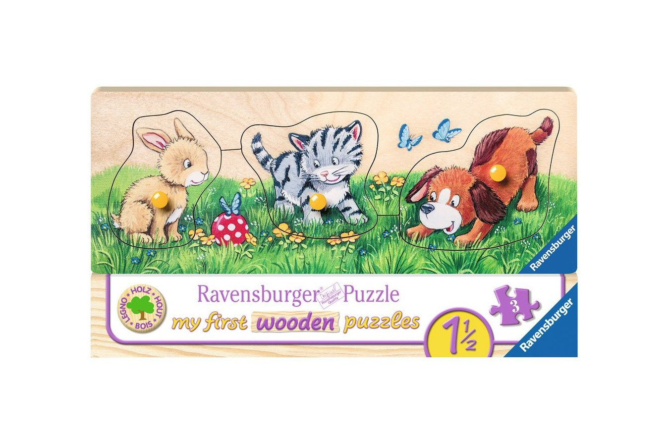 Puzzle din lemn Ravensburger - My First Wooden Puzzles, 3 piese (03203)
