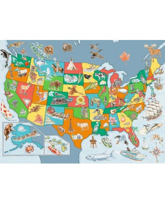 Puzzle Ravensburger - Map of the United States of America, 100 piese XXL (10716)